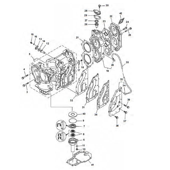 25 & 30 pk (2-takt) Blok Onderdelen (2 cilinder)