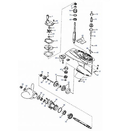 25 t/m 50 pk 1997-2006 Mariner Staartstuk Onderdelen