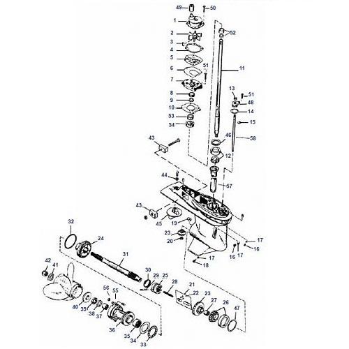 30 t/m 125 pk (3 & 4 cil) Schakelhuis Ø107.95 mm Mariner Big Foot Staartstuk Onderdelen