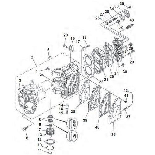 40 pk (2 cil.) Mariner (Yamaha model) Motorblok onderdelen (2-takt)