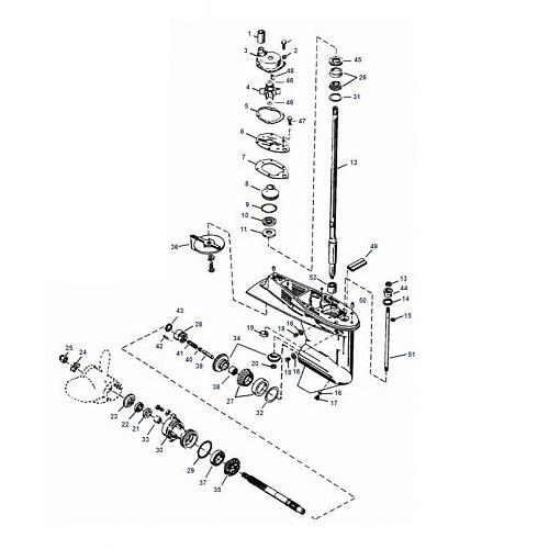 50, 55 & 60 pk (3 cil.) Mariner (Schakelhuis Ø 87.38 mm) Staartstuk Onderdelen