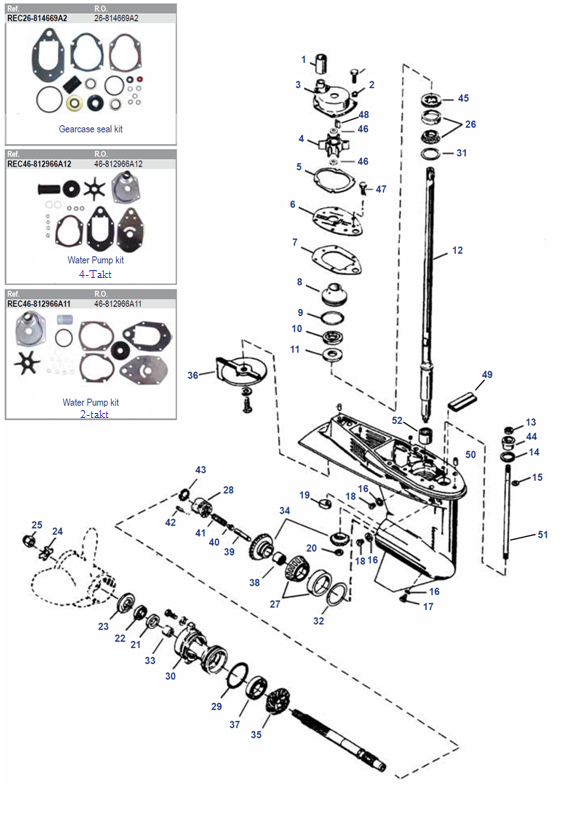 40, 50, 60 pk (4 cil) (EFI) 40 Carb 3 cil (Schakelhuis Ø 87.38 mm) Mariner Staartstuk Onderdelen