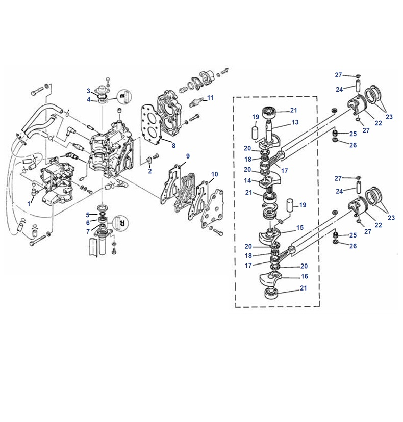 8 pk (Yamaha type B) Krukas Blok Onderdelen Mercury