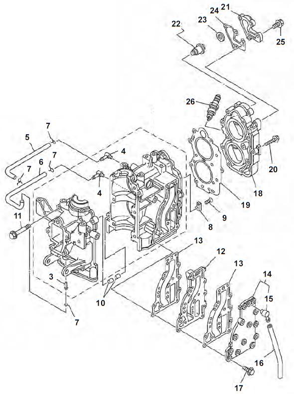 9.9F 13.5AMH & 15F (2-takt) Blok Onderdelen