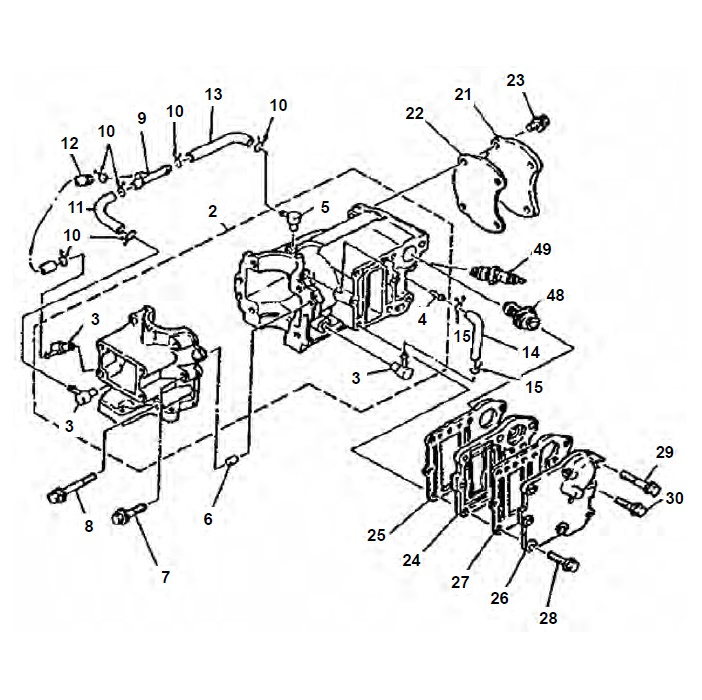 4 & 5 pk (2-takt) Blok Onderdelen