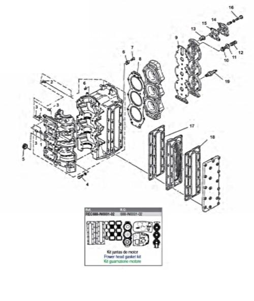75 & 85 pk (2-takt) Blok Onderdelen