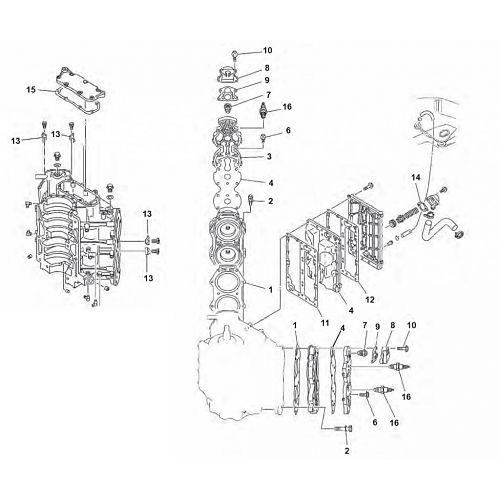 90 100 115 130 & 140 pk (2-takt) V4 Blok Onderdelen