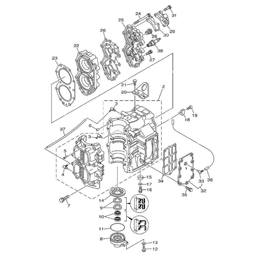 E40X 40XMH E40XMH 40XW & 40XWT (2-takt) Blok Onderdelen (2 cilinder)