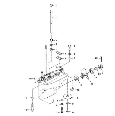 Staartstuk Onderdelen (2) Parsun F50 & F60