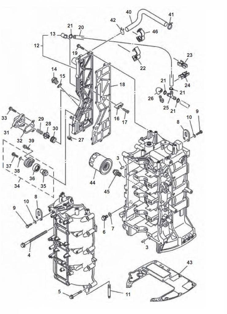 F80 F100 & F115 (4-takt) Blok Onderdelen