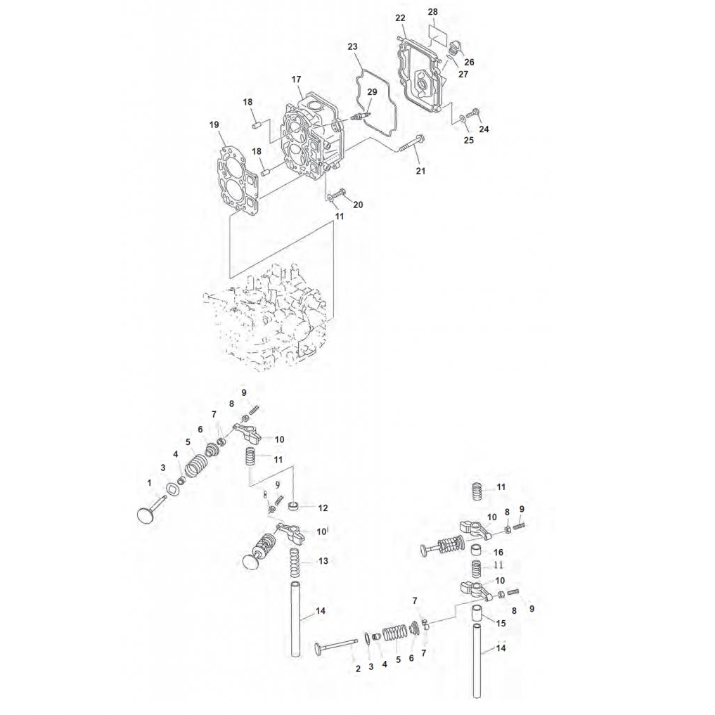 F9.9 F13.5 & F15 (4-takt) Blok Onderdelen