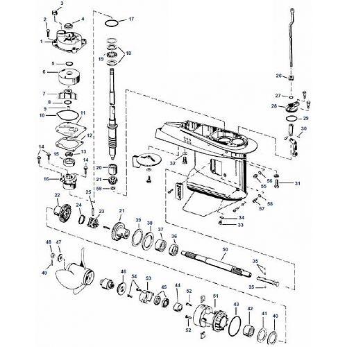 40 & 50 pk Evinrude (1989 t/m 2005) Staartstuk Onderdelen