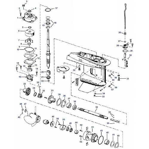 40 & 50 pk Johnson (1989 t/m 2005) Staartstuk Onderdelen