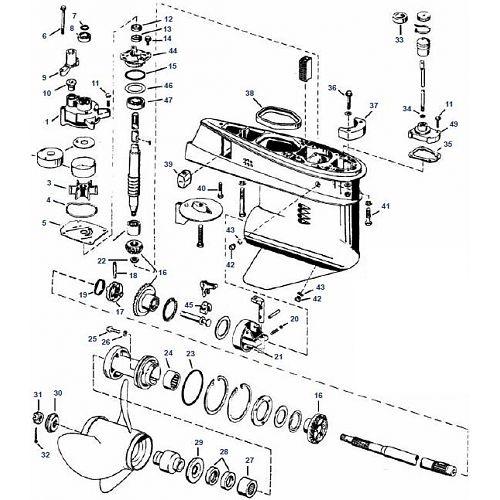 40 60 & 75 pk Evinrude (1975-1988) Staartstuk Onderdelen