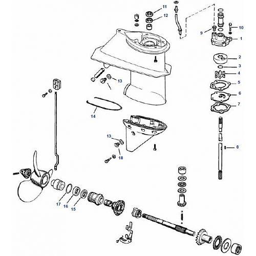 25 & 28 pk Evinrude (1978-1997) Staartstuk Onderdelen