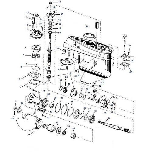 40 60 & 75 pk Evinrude (1975-2006) Staartstuk Onderdelen