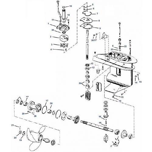 20, 30 & 35 pk Evinrude (1980-2005) Staartstuk Onderdelen