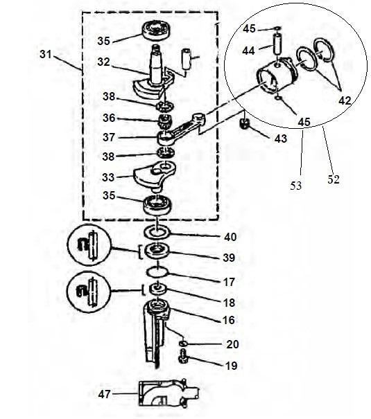 4 & 5 pk (2-takt) Krukas Onderdelen