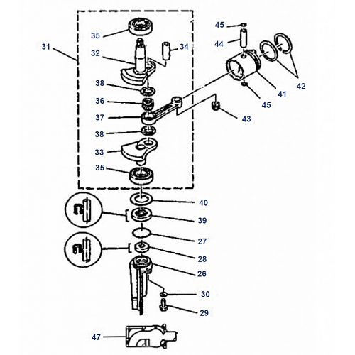 4A Mariner Krukas Onderdelen (2-takt)