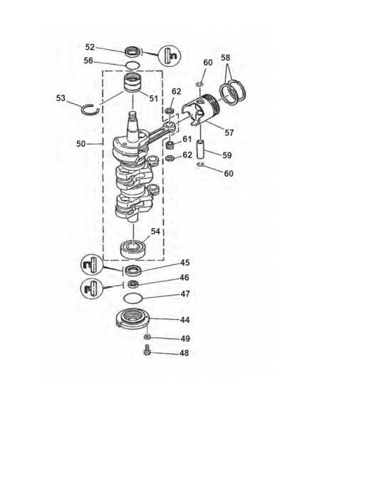 50G 60 & 70 pk (2-takt) Krukas Onderdelen (3 Cilinder)