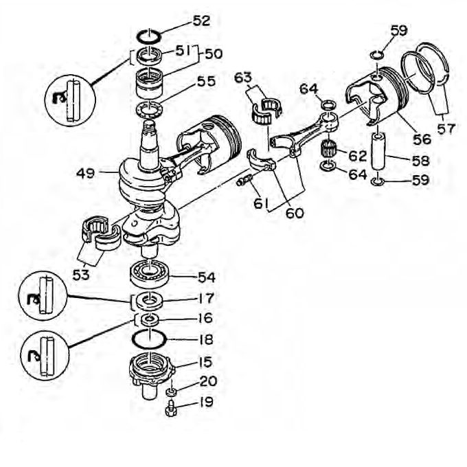 48 & 55 pk (2-takt) Krukas Onderdelen