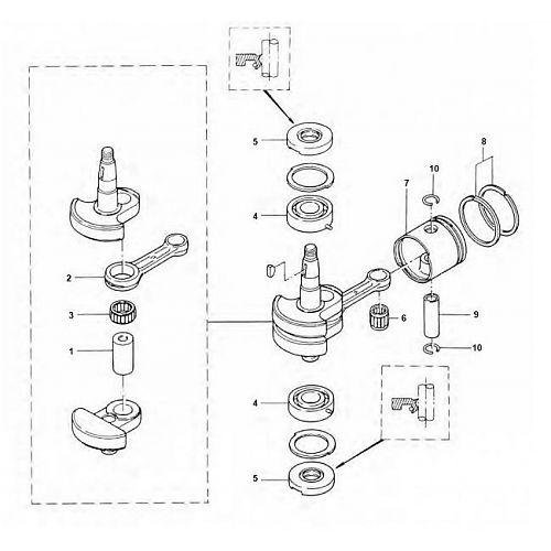 4 & 5 pk (2-takt) Krukas Onderdelen Mercury
