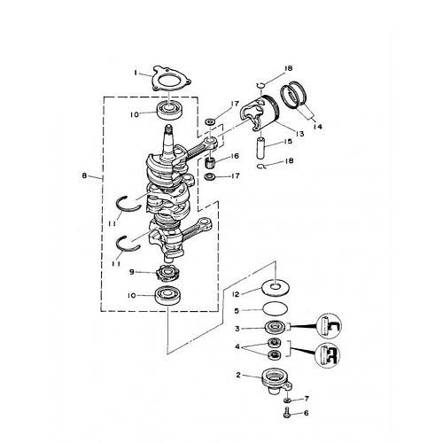 25Q/QEO pk (2-takt) Krukas Onderdelen (3 cil.)