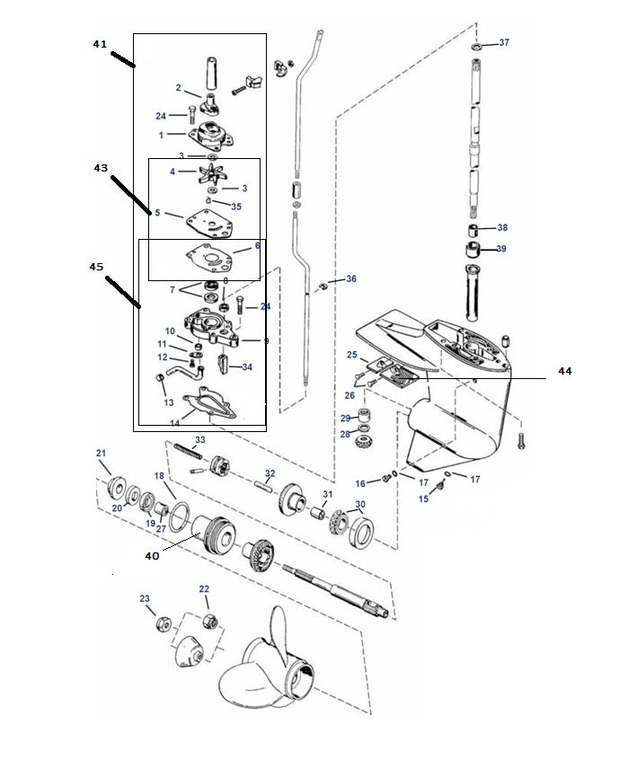 8 Bodensee (Inter), 9.9 (232 cc), 13.5 & 15 pk Mariner Staartstuk Onderdelen