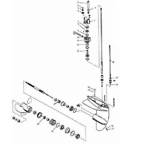 3.9 / 4 / 4.5 / 6 / 7.5 & 9.8 pk (1975-1986) Mariner Staartstuk Onderdelen