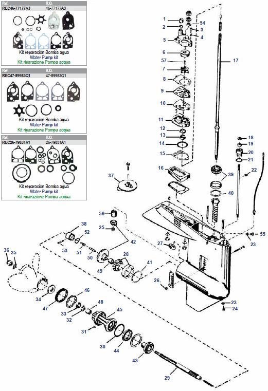 30 t/m 70 pk 1977-1997 Mariner (2, 3 & 4 Cil) Staartstuk Onderdelen