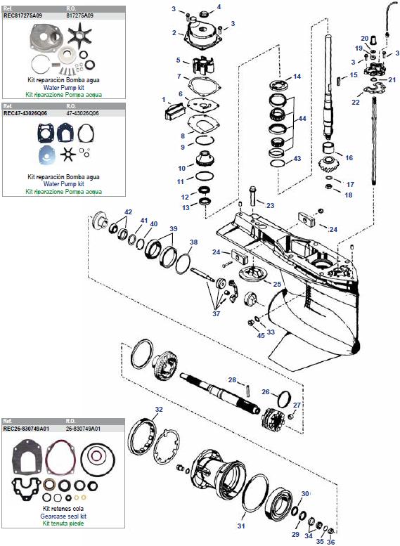 135 t/m 300 pk VERADO V4 & V6 (2006+) Mariner Staartstuk Onderdelen