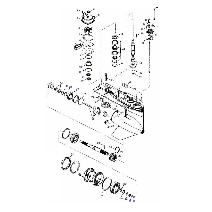 135 t/m 300 pk VERADO 4, 6 cil. (2006+) 4-takt Staartstuk Onderdelen