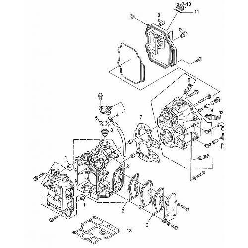 8 Bodensee 9.9 (232 cc) Mercury (4-Takt) Blok Onderdelen