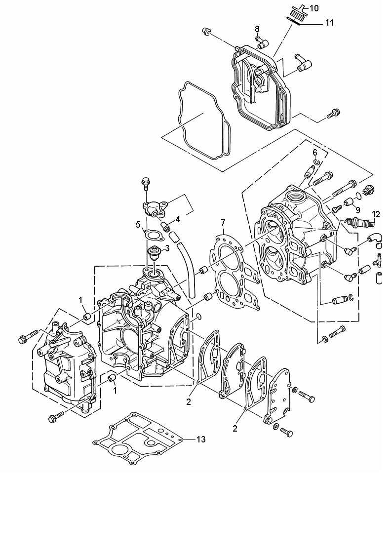 8 Bodensee 9.9 (232 cc) Mariner (4-Takt) Motorblok Onderdelen