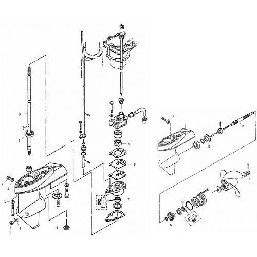 4, 5 & 6 pk Mercury (4-Takt) Staartstuk Onderdelen