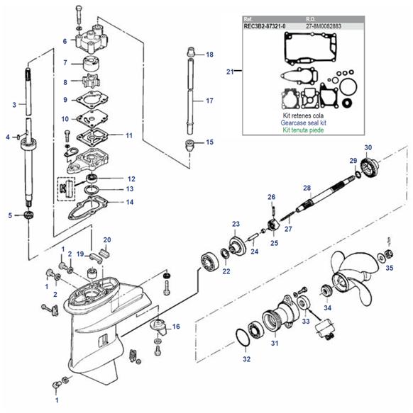 6, 8 & 9.8 Seapro pk (2 cil) Staartstuk Onderdelen