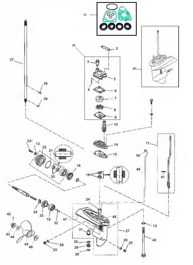 F4 & F5 - Staartstuk Onderdelen Parsun