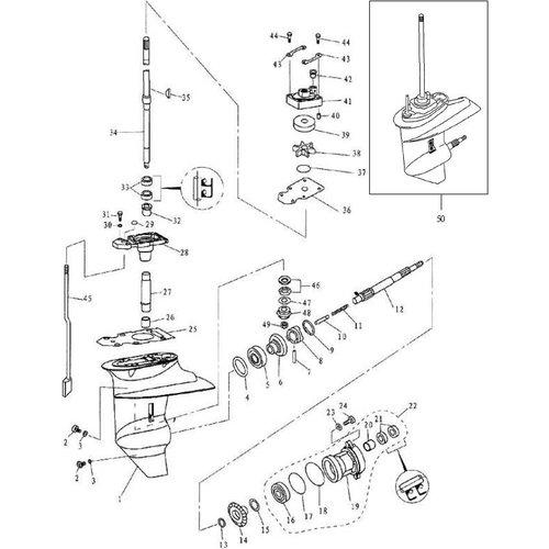 F9.9, F13.5 & F15 Parsun Staartstuk Onderdelen (1)