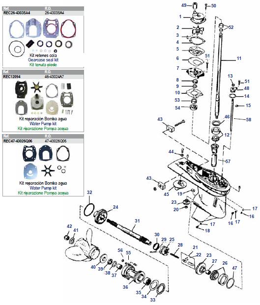 30 t/m 125 pk (3 & 4 cil) Schakelhuis Ø107.95 mm Mercury Big Foot (2-takt) Staartstuk Onderdelen