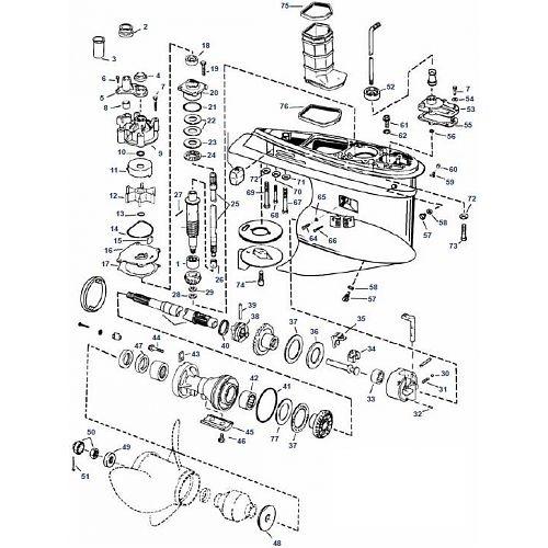 V4 & V6 Evinrude (2002-2006) Staartstuk Onderdelen