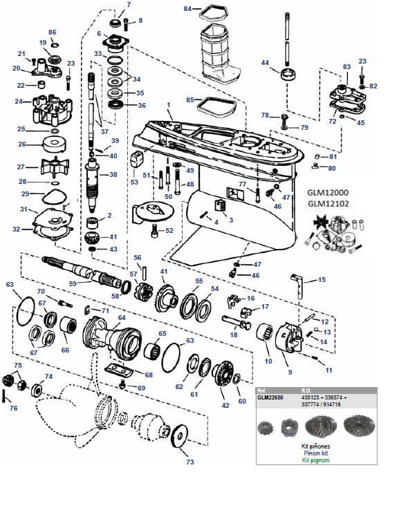 """V4 & V6 """"O"""" Evinrude (1979-2006) Staartstuk Onderdelen"""