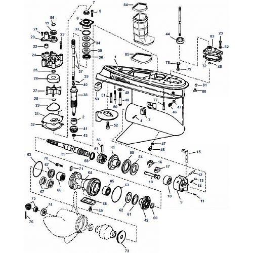 V4 & V6 Evinrude (1979-2006) Staartstuk Onderdelen