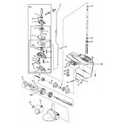 6 / 8 / 9.9 / 10 / 13.5 & 15 pk Mariner (1986-2005) Staartstuk Onderdelen