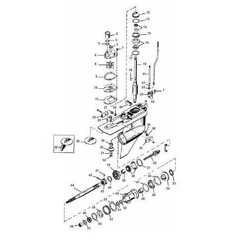 225, 250 EFI, DFI & 3.0L 225 pk (Carb) Mariner Staartstuk Onderdelen