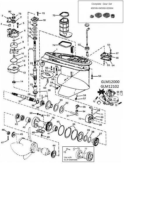 V4 Johnson 90º (1978-1998) Staartstuk Onderdelen