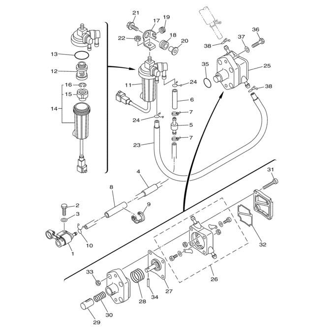 F50 & F60 (4-takt) Brandstof Onderdelen