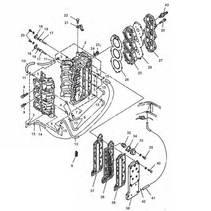 50G 60 & 70 pk (2-takt) Blok Onderdelen (3 Cilinder)
