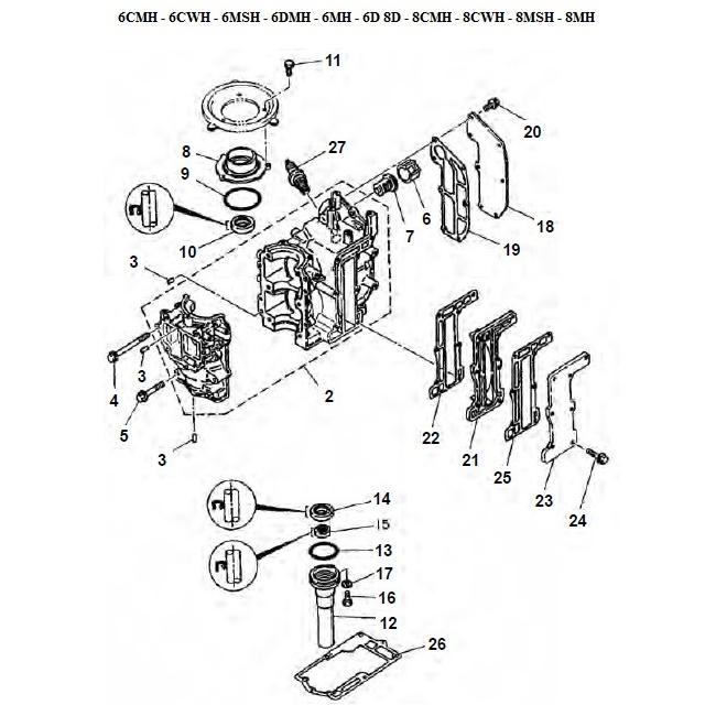 6 & 8 pk (2-takt) Blok Onderdelen