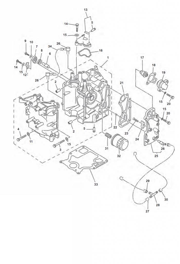 F9.9 F13.5 & F15 (4-takt) Blok (deel 2) Onderdelen