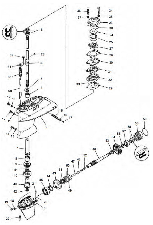 E40GMH - 40GWH Staartstuk Onderdelen